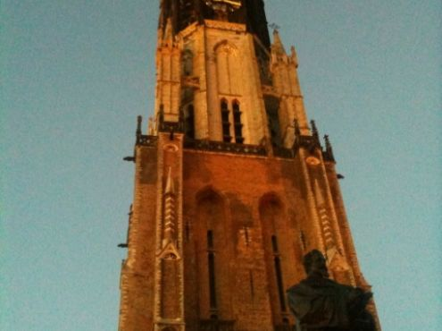 21-08-2010  2 Versions of the most beautiful tower in the Netherlands of the Ursula Church (Nieuwe Kerk) in Delft. Photograped by Antoon Melissen Amsterdam and Frans van der Vaart Delft.