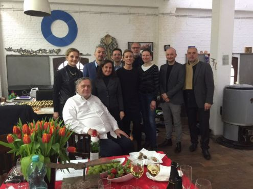 22-03-2016  The International ZERO foundation Research Group visiting the Artist's studio. From left to right: