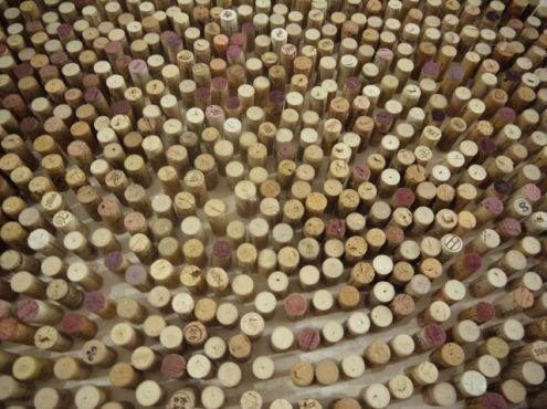Detail natural corks on wooden cradled panel, 2014