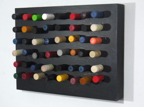 Colour 24 x 30 plastic stops in wooden cradled panel, 2014 (Sold)